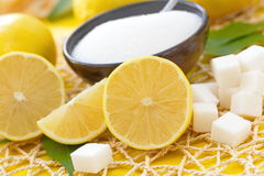 Fresh lemon and sugar Stock Photos