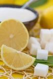 Fresh lemon and sugar stock photos