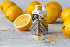 Fresh lemon. On table with zest royalty free stock images