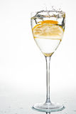 Fresh lemon in water. Lemon in water in a glass, splash stock images