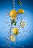 Fresh lemon with water splash Stock Photography