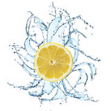 Fresh lemon with water splash Stock Photo