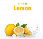 Fresh lemon in water splash on white Stock Image