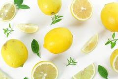 Fresh Lemon Whole And Slice Royalty Free Stock Photo