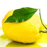 Fresh lemon on yellow plate isolated on white Royalty Free Stock Image