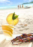 Fresh lemonade on the beach Royalty Free Stock Images