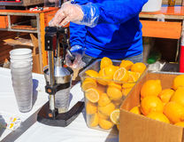 Fresh Lemonade Being Prepared Royalty Free Stock Photography