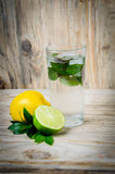 Fresh lemonade drink with ice. Fruit. Lemon lime and green mint Stock Photography