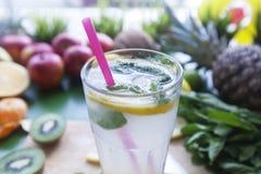 Fresh lemonade in an environment of fruit close up. Fresh lemonade with mint  in an environment of fruit Royalty Free Stock Image