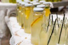 Fresh lemonade in glass bottles Royalty Free Stock Photos