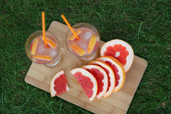 Fresh lemonade. Lemonade grapefruit in nature Royalty Free Stock Photo