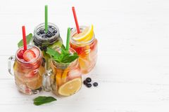 Fresh lemonade with summer fruits and berries Royalty Free Stock Photo