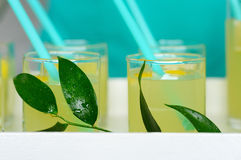 Fresh lemonade with lemon poured into glasses. Fresh lemonade with sliced lemon poured into glasses.In the glass of the inserted tube.Served lemonade on the Stock Images