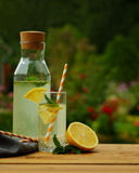 Fresh lemonade with mint, summer outdoor. Lemonade in bottle and glass on wooden table Stock Photography