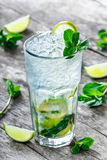 Fresh lemonade mojito with mint, lime and ice in glass on wooden background. Summer drinks and alcoholic cocktails Royalty Free Stock Photography