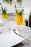 Fresh lemonade with orange Royalty Free Stock Photography