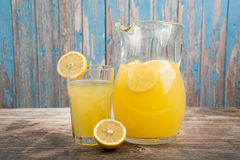 Fresh lemonade in the pitcher Stock Photos