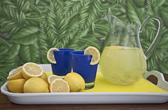Fresh Lemonade Pitcher on Tray Royalty Free Stock Photography