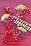 Fresh lemonade with red currant Stock Photo