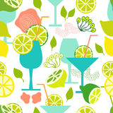 Fresh lemonade. Seamless vector pattern with cold drinks and limes. 1950s and 1960s motifs. Retro textile collection Royalty Free Stock Images