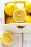 Fresh lemons. In the basket Royalty Free Stock Photo