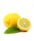 Fresh lemons. Close up of lemons isolated over white Stock Photo