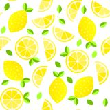 Fresh Lemons Background. Hand Drawn Overlapping Backdrop. Colorful Wallpaper Vector. Seamless Pattern With Citrus Fruits Stock Photography