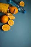 Fresh lemons on blue background Stock Photos