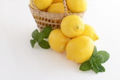 Fresh lemons. Fresh and delicious lemons in the basket Royalty Free Stock Photography