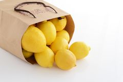 Fresh lemons. Fresh and delicious lemons in the paper bagn Royalty Free Stock Images