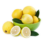 Fresh Lemons in a Green Bowl Stock Photography
