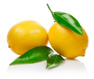 Fresh lemons with green leaves Royalty Free Stock Image