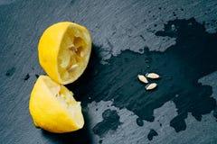 Fresh lemons with green leaves stock photos