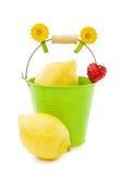Fresh lemons with heart. Healthy nutrition - fresh lemons in green garden bucket. Isolated over white Royalty Free Stock Photo