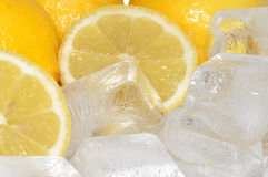 Fresh Lemons And Ice Stock Photos