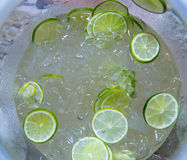 Fresh lemons with ice. Summer time drink with fresh lemons with ice Royalty Free Stock Images