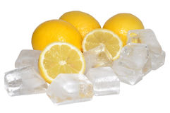 Fresh Lemons And Ice Stock Images
