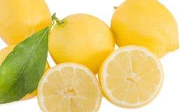 Fresh lemons isolated over white. Royalty Free Stock Photos