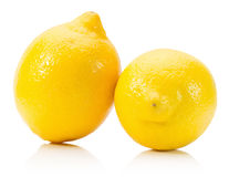 Fresh lemons isolated on a white background Stock Images