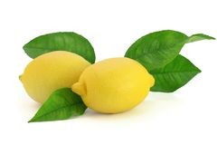 Fresh lemons with leaves Royalty Free Stock Images