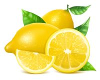 Fresh lemons with leaves. Royalty Free Stock Image