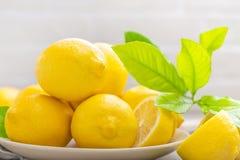 Fresh lemons with lemon leaves Stock Photo