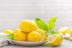 Fresh lemons with lemon leaves Stock Images