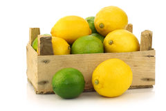 Fresh lemons and lime fruit in a wooden box Royalty Free Stock Photography