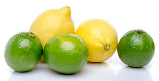 Fresh lemons and limes Stock Photo