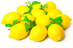 Fresh lemons with mint leaves Royalty Free Stock Images