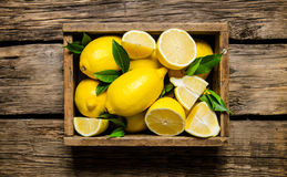 Fresh lemons in an old box with leaves. Royalty Free Stock Photos
