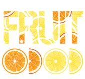 Fresh lemons and oranges. Illustration of slices of fresh lemons and oranges spelling word fruit, white background Royalty Free Stock Photos