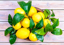 Fresh lemons in plate. Royalty Free Stock Photography