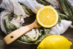 Fresh lemons on rustic wooden background. Stock Photography